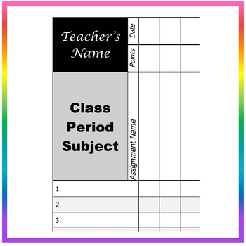 EDITABLE Grade Book Template/Format