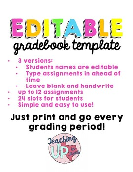 Gradebook Template & Worksheets | Teachers Pay Teachers