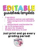 EDITABLE Gradebook Template
