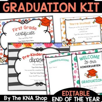 EDITABLE Graduation Diplomas and Certificates