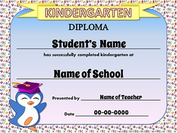 EDITABLE Awards EDITABLE Certificates Pre-K and Kindergarten Graduation Diplomas