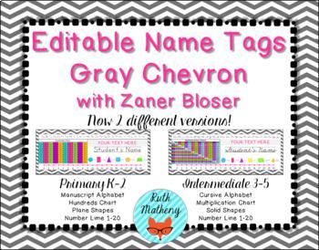 EDITABLE Gray Chevron Name Tags with Zaner Bloser