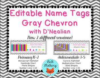 EDITABLE Gray Chevron Name Tags with D'Nealian