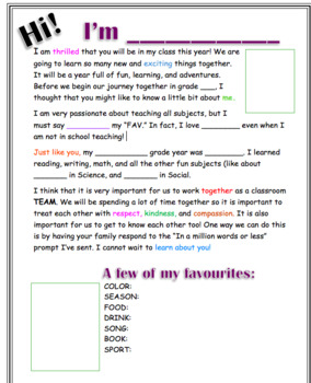 EDITABLE Greeting Letter for Parents