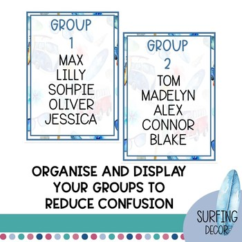 EDITABLE Group and Table Labels   Surfing Classroom Decor