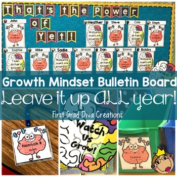 EDITABLE~Growth Mindset Bulletin Board~Leave it Up ALL Year