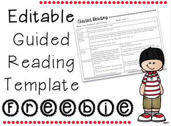 EDITABLE Guided Reading Template
