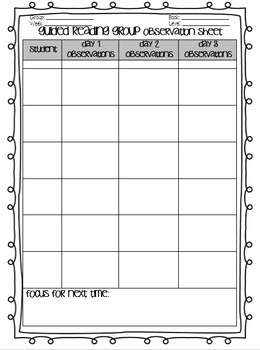 ~EDITABLE~ Guided reading group observation form