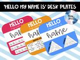 EDITABLE 'HELLO my name is' Rainbow Desk Plates #ausbts18