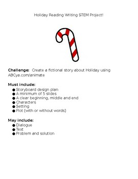 EDITABLE HOLIDAY Reading Writing STEM Project!