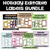 Editable Holiday Labels Bundle