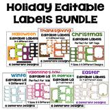 Editable Holiday Labels Bundle