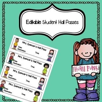 EDITABLE Hall Pass