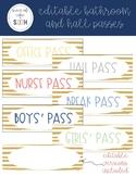 EDITABLE Hall and Bathroom Passes