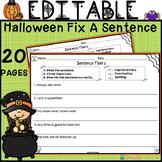 EDITABLE Halloween Sentence Fixers