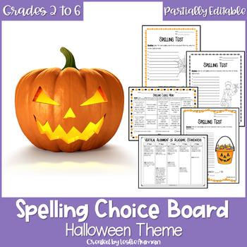 EDITABLE Halloween Spelling Choice Board by Leslie Auman   TpT