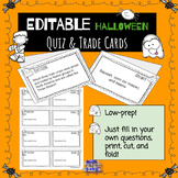 EDITABLE Halloween cooperative learning quiz trade cards
