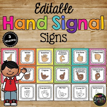 Hand Signals for the Classroom, EDITABLE, Classroom Management, Rainbow Chevron