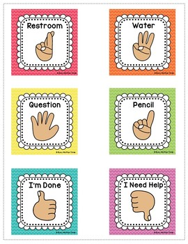 Hand Signals for the Classroom, EDITABLE Classroom Management Rainbow Chevron