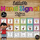 Hand Signals for the Classroom, EDITABLE Classroom Management Bright Chevron