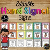 Hand Signals for the Classroom EDITABLE Classroom Management Bright Chevron