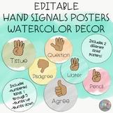 EDITABLE-Hand Signals Posters-Watercolor Decor