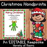 Christmas Handprint Poem Craft EDITABLE Parent Gift