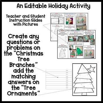 Christmas Tree Computation Problem Solving with Editable Version Craftivity