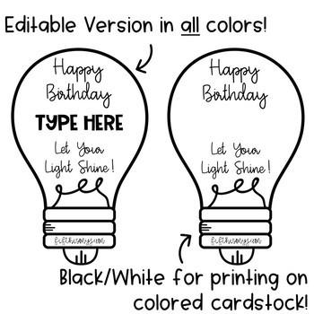 EDITABLE Happy Birthday Bulbs