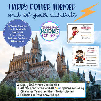 EDITABLE Harry Potter End-of-Year Awards