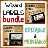 """BUNDLE - EDITABLE """"wizard"""" LABELS - white & colorful backgrounds"""