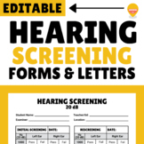 Hearing Screening Forms and Parent Letters - EDITABLE!