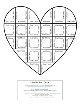 EDITABLE Heart Puzzle: Make a Valentine's Day Activity for Math, Literacy, +++
