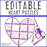 EDITABLE Heart Puzzle: Grandparent's Day Activity for Math, Literacy, +++