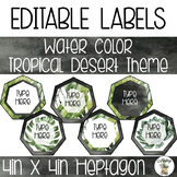 EDITABLE Heptagon Labels - Watercolor Tropical Desert Theme
