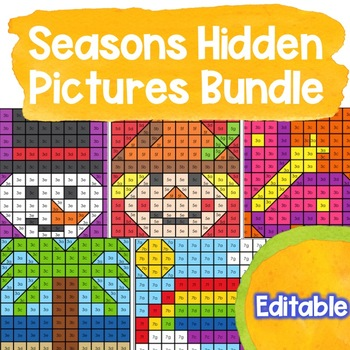 EDITABLE Hidden Picture Puzzles BUNDLE | Winter | Spring | Summer | Fall