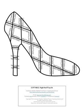 EDITABLE High Heel Puzzle for ANY Topic --- Great for Mother's Day Activities!
