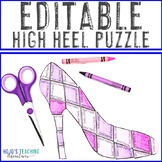 EDITABLE High Heel Puzzle for ANY Topic --- Great for Moth