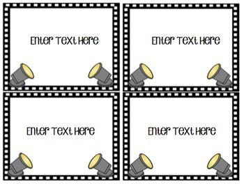 EDITABLE Hollywood Labels