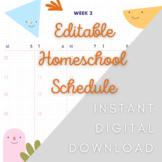 EDITABLE Homeschool Schedule TRACKER   Digital Download -