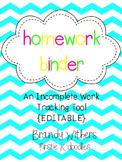 EDITABLE Homework Binder for Incomplete Work Tracking