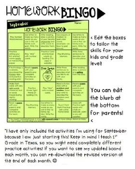 EDITABLE Homework Bingo Boards
