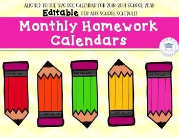 EDITABLE Homework Calendars - 2018-2019 SY!