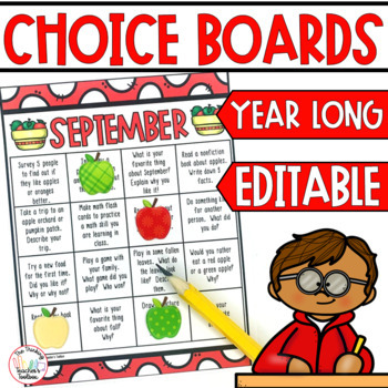 Homework Choice Boards Monthly EDITABLE
