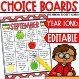 Homework Choice Boards Monthly EDITABLE