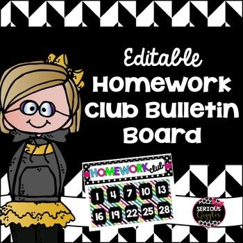 EDITABLE Homework Club Bulletin Board Set