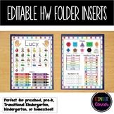 EDITABLE Homework Folder Cover Insert for Primary Grades