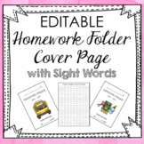 EDITABLE Homework Folder Cover Pages and Sight Words