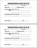 EDITABLE ~ Homework Hand-in Slip