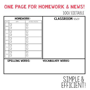 EDITABLE Homework & Newsletter Template